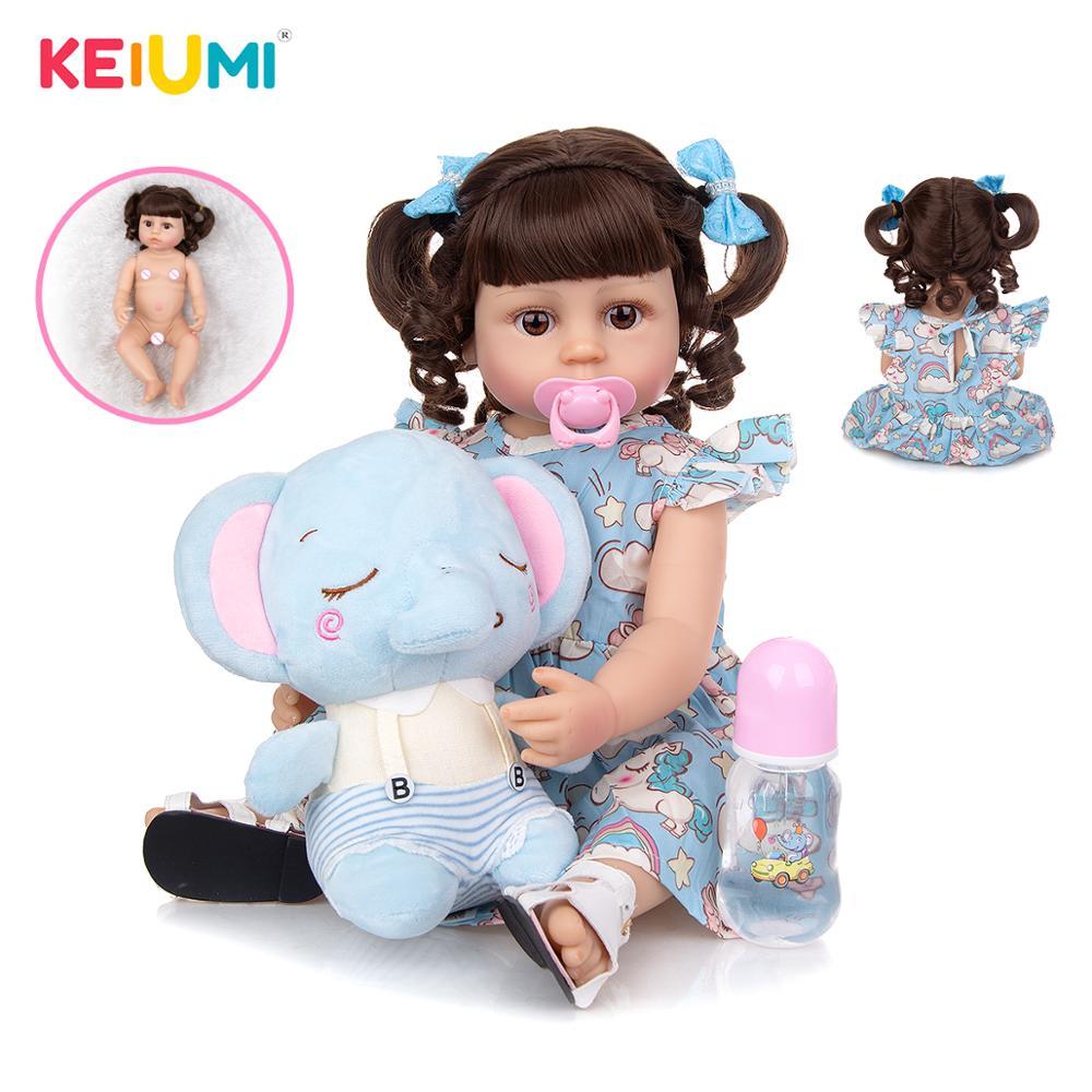 Fantasy 55cm Silicone Full Body Baby Girl Doll Fashion Newborn Reborn Princess Doll With Elephant Toy Kid Birthday Gift Playmate